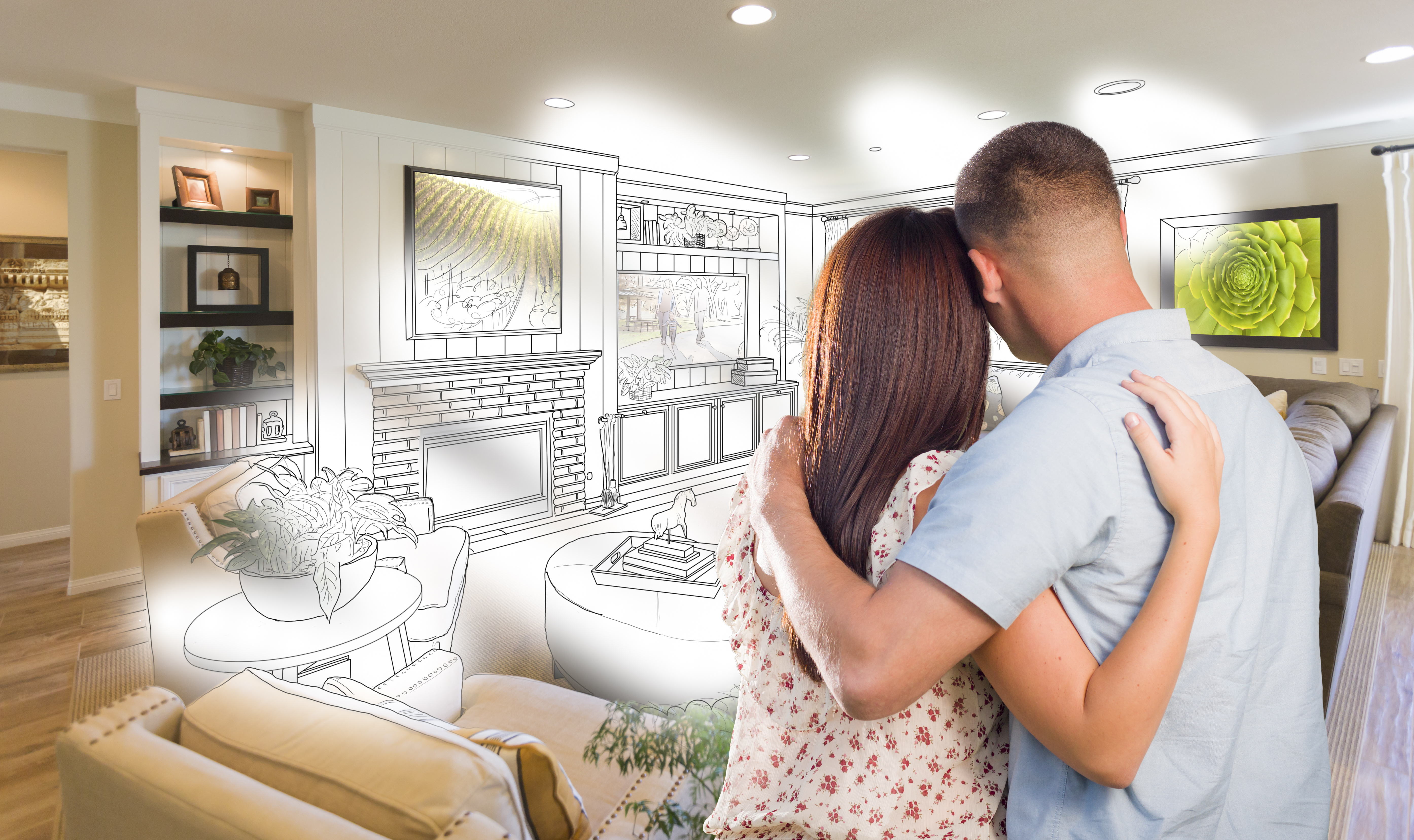 Curious Young Military Couple Looking Over Custom Living Room Design ...